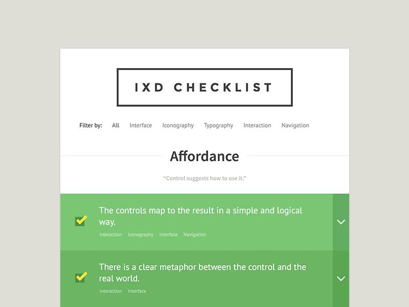 IxD Checklist